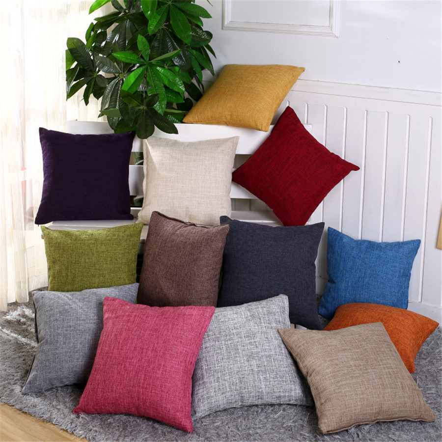Double Side Decorative Throw Pillow Case Solid Colorful Cotton Linen Simple And Stylish Cushion Cover For Sofa Home Almofadas