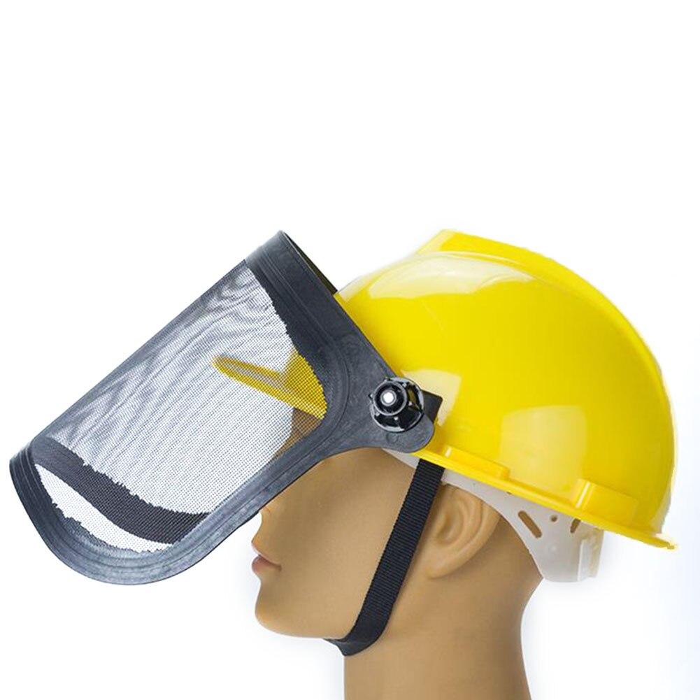 H2e415c73cd314cf8ad86f64f81fb3752b Full Face Mesh Grass Trimmer Helmet Outdoor Protective Mask Metal Visor Workplace Garden Ear Defenders 180 Degrees Adjustable