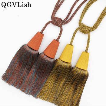 QGVLish 2Pcs 4 Balls Curtain Tiebacks Straps Tassel Brush Hanging Belt Balls Curtain Accessories Bind Fringe Straps Buckle Decor