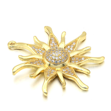 ZHUKOU CZ crystal gold/silver color Sun flower Charms Pendants for women DIY Jewelry making findings supplies wholesale VD286