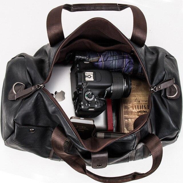 MAGIC UNION Weekender Oil Wax Leather Handbags for Men Travel Duffel Bag Portable Shoulder Bags Men's Fashion Carry On Bag 1