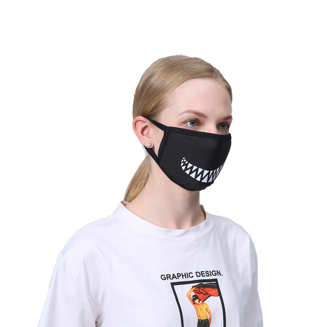 Cotton Dust Cartoon Expression Teeth Muffle Chanyeol Face Respirator Anti Kpop Bear Mouth Mask Cottom Mask Mouth Black Fashion 4