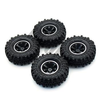 INJORA 1:10 RC Rock Crawler 1.9 Inch Rubber Tires & Plastic Wheel Rim Set for Axial SCX10 Tamiya CC01 D90 TF2 2