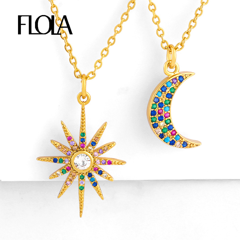 FLOLA Gold Sun Necklace Jewelry Rainbow Moon Necklaces Pendants for Woman collares de moda CZ Necklace Rainbow Zircon nkep88