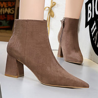 Pointed pedicure slimming nightclub sexy thick ankle boots High heeled fashion simple bare boots winter Short boots women 2019