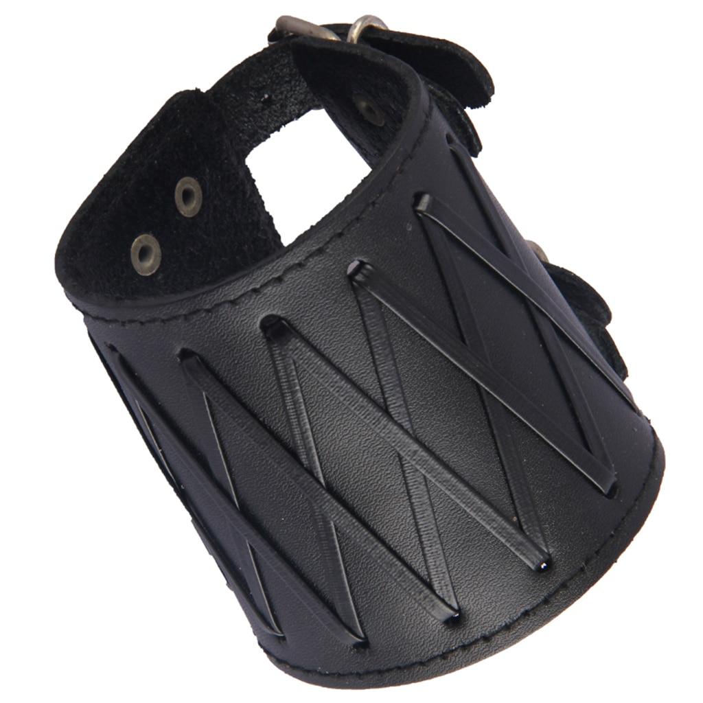 Punk Rock Gothic Leather Wrist Bracer Guards Arm Protector Wristband Arm Warmers Brassards Bras Black