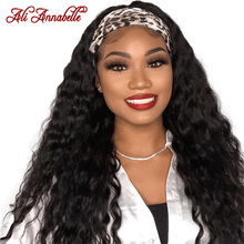 Headband Wigs Human-Hair Ali-Annabelle Brazilian Curly Glueless Deep-Wave Women for Scarf