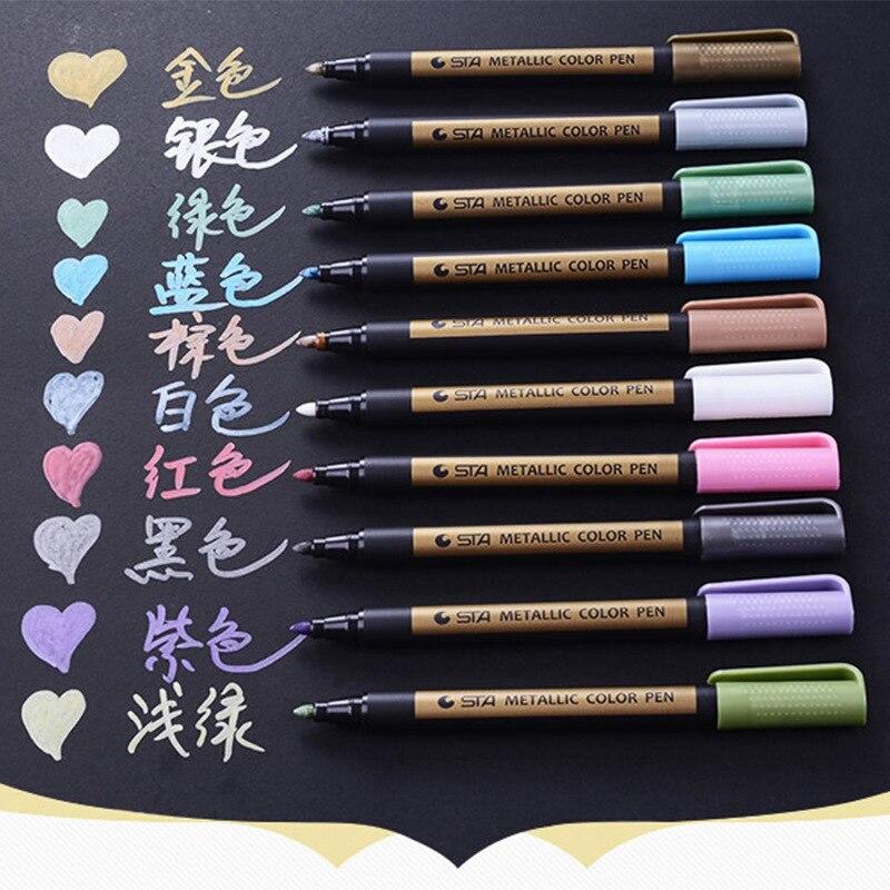 1 PCS Metallic Marker Pen Paint Highlighter Pen for Graffiti DIY Photo Album Pen Art Supplies Office School Stationery 10 Colors