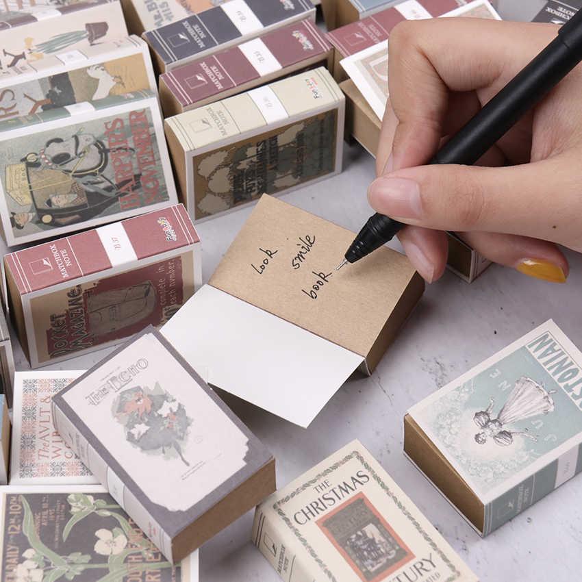 1 PC/122 Lembar Mini Memo Pad Kreatif Kotak Korek Api Retro Notebook Dapat Air Mata Alat Tulis Memo Pad Kantor Sekolah Stationery perlengkapan