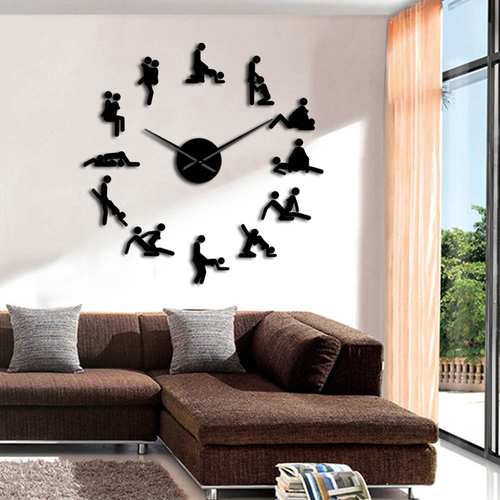 Frameless Bachelorette Naughty Game Wall Decor DIY Giant Large Wall Clock KamaSutra Guess The Sex Position Adult Home Decoration image