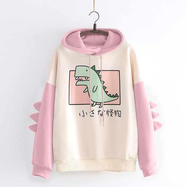 40#Hoodies Women Casual Cute Cartoon Dinosaur Print Long Sleeve Splice Dinosaur Sweatshirt Autumn Winter Warm Pullover Tops 2