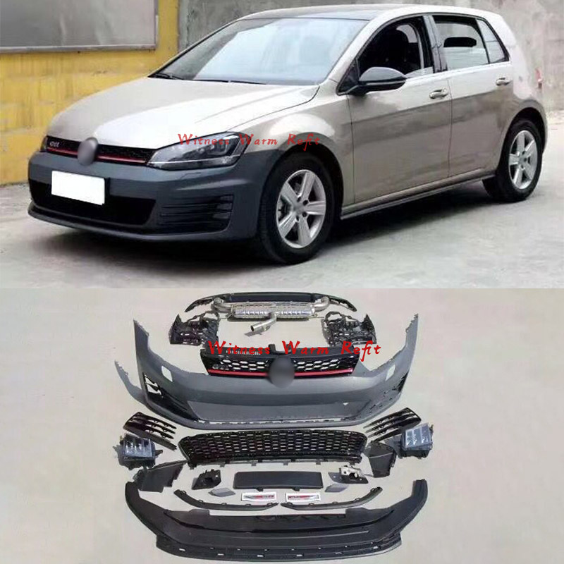 For <font><b>Golf</b></font> <font><b>7</b></font> Car body kit unpainted <font><b>Front</b></font> <font><b>bumper</b></font> Rear <font><b>bumper</b></font> lip with exhaust Side skirts For <font><b>VW</b></font> GOLF7 <font><b>GTI</b></font> style image