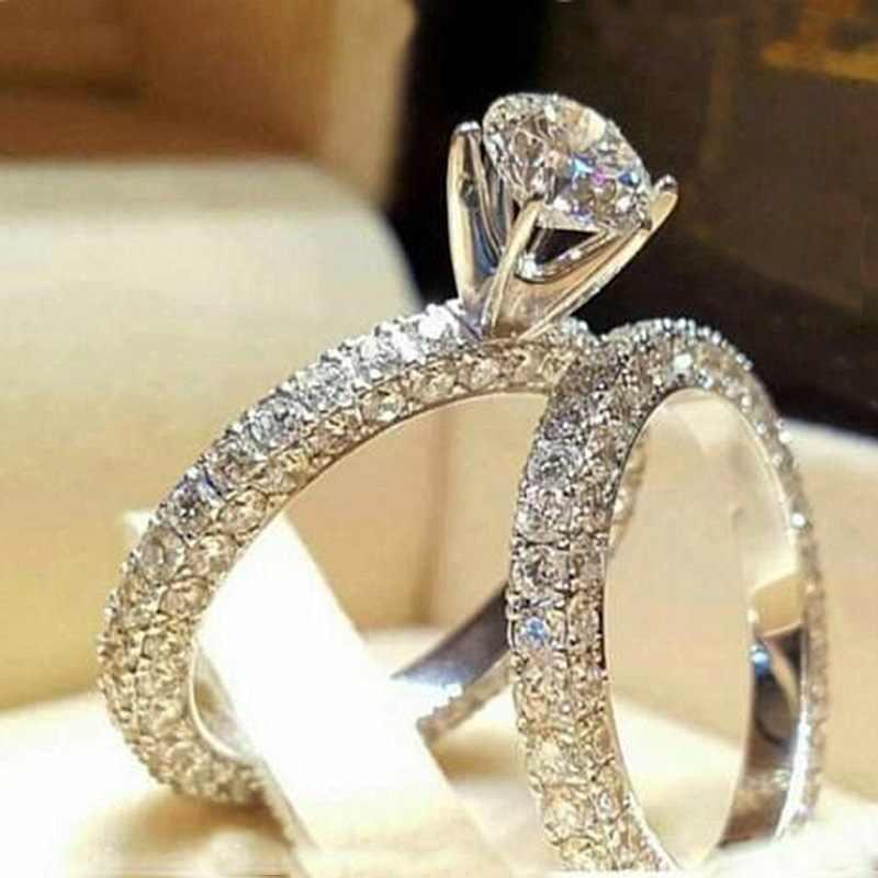Crystal Vrouwelijke Zirkoon Wedding Ring Set Mode Zilveren Kleur Wit Bruids Sets Sieraden Promise Liefde Engagement Ringen Voor Vrouwen