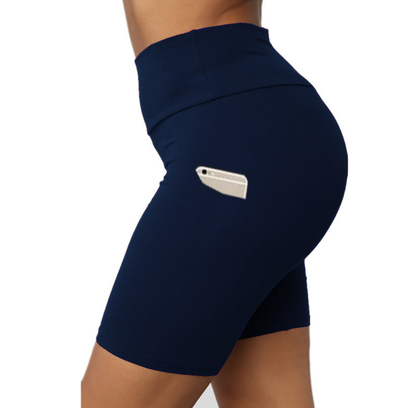 TOIVOTUKSIA With Phone Pocket High Waist Fitness Sports Shorts Summer Beach Athletic Skinny Soft Stretchy Solid Shorts Women