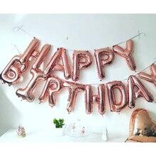 16 Inch Gelukkige Verjaardag Folie Ballon Banner Volwassen Kids Party Decoratie Baby Boy Meisje Mijn Eerste 1st Een Jaar Levert rose Gold