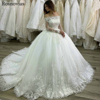Luxury Ball Gown Princess Wedding Dresses 2019 Off Shoulder Long Sleeves Lace Appliques Beaded Bridal Gowns Robe De Mariée
