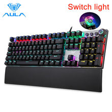 AULA F2088 Mechanical Gaming Keyboard 104 Anti-ghosting Brown Switch Blue Wired Mix Backlit Keyboard for Gamer Laptop PC