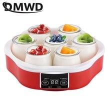 DWMD Автоматическая Йогуртница машина бытовая DIY Инструменты для йогурта стеклянные чашки противостоящий стальной лайнер natto рисовое вино Функция йогурта