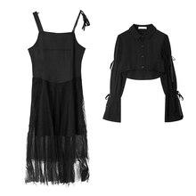 Summer Dress Suspender-Dresses Party Black Large-Size Women for Suit Cool Korea-Style