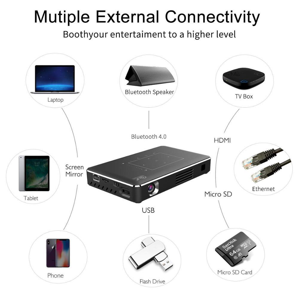 Vivicine novo atualizado p10 android 9.0 inteligente 3d 4k mini projetor, bolso wifi led vídeo game projetor beamer-4