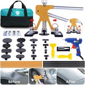 Farby mniej Dent DIY zestawy naprawcze metalowe urządzenie wygładzające wgniecenia ściągacz klej Tabs pistolet do kleju zestaw do samochodu grad uszkodzenia Repair Tool