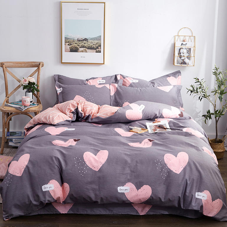 100% Pure Cotton Fashion Bedding Set Luxury Pink Love Family Set Sheet Duvet Cover Pillowcase Full King Single Queen,bed Set