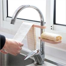 Sink Hanging Sponge Towel Plastic Storage Rack Kitchen Bathroom Rag Soap Drain Box Faucet Clip Hook Drain Dry Towel Organizer