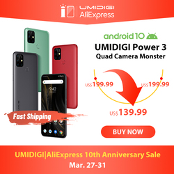 UMIDIGI כוח 3 48MP Quad AI מצלמה 6150mAh אנדרואיד 10 6.53