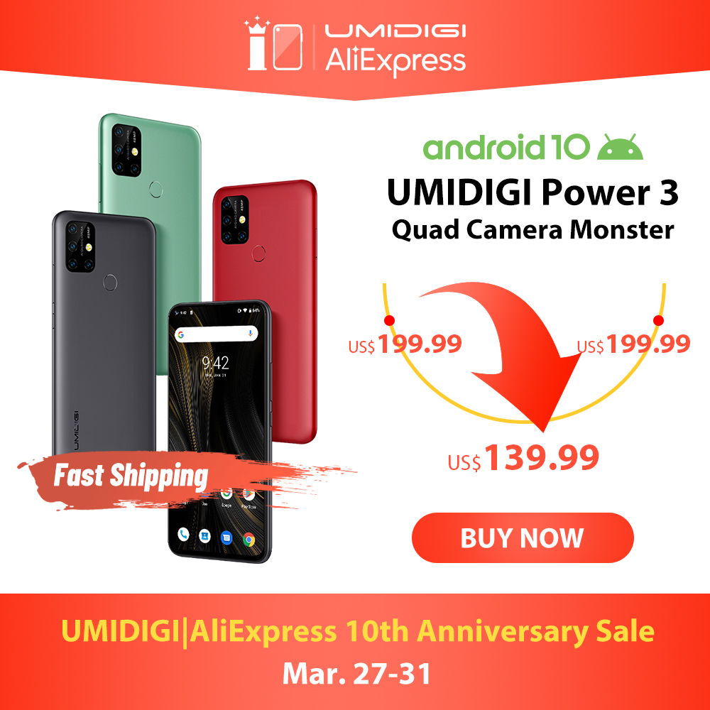 UMIDIGI Power 3 48MP Quad AI กล้อง 6150mAh Android 10 6.53