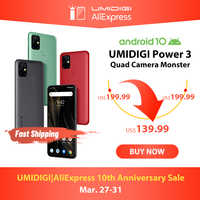 "UMIDIGI Power 3 48MP Quad AI Kamera 6150mAh Android 10 6.53 ""FHD + 4GB64GB NFC Handy Triple slots 10W FastReverse Lade"