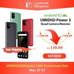 UMIDIGI di Alimentazione 3 48MP Quad AI Fotocamera 6150mAh Android 10 6.53 FHD + 4GB64GB NFC Del Telefono Mobile Triple slot 10W FastReverse di Ricarica