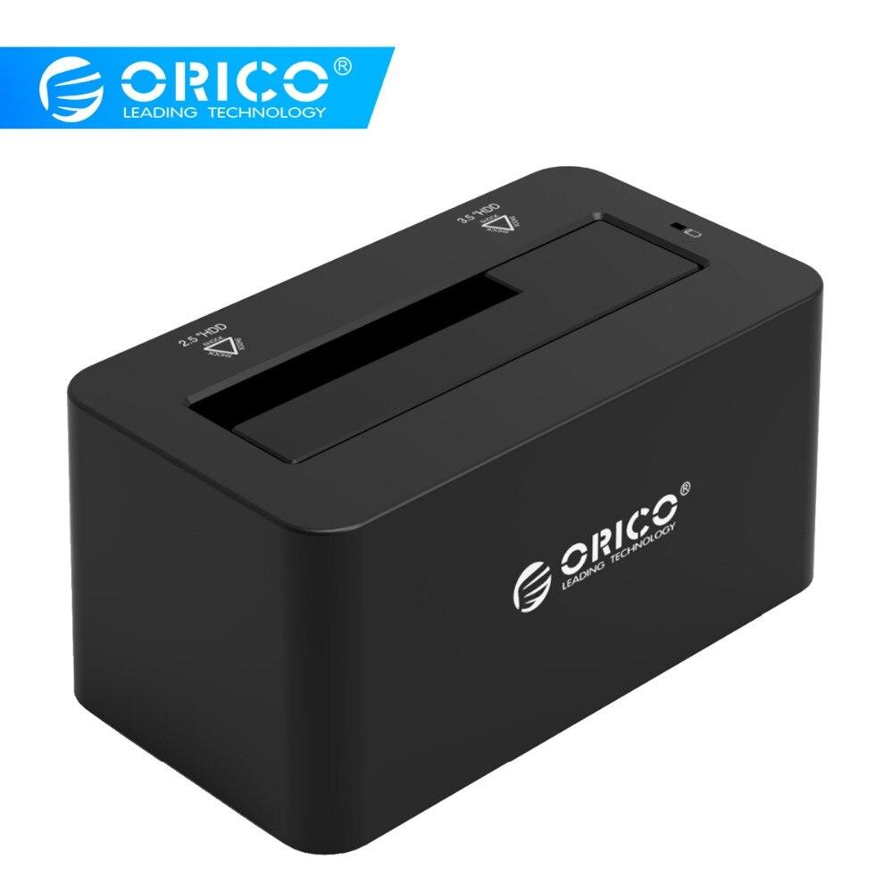 Boîtier disque dur ORICO SATA vers USB 3.0 Station d'accueil pour disque dur 5Gbps Super vitesse pour disque dur SSD 2.5 ''/3.5 avec adaptateur secteur 12V