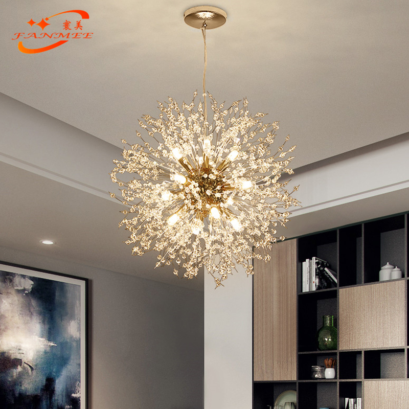 H2e42deaa7e454d75b0a7ab8ea1e6a4cdY Modern LED Crystal Chandelier Light Pendant Hanging Lamp Dandelion Cristal Chandelier Lighting for Living Dining Room Decoration