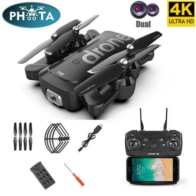 F88 zangão dobrável rc quadcopter portátil wifi drones com 4k hd câmera modo de espera altitude siga drone ar selfie dron