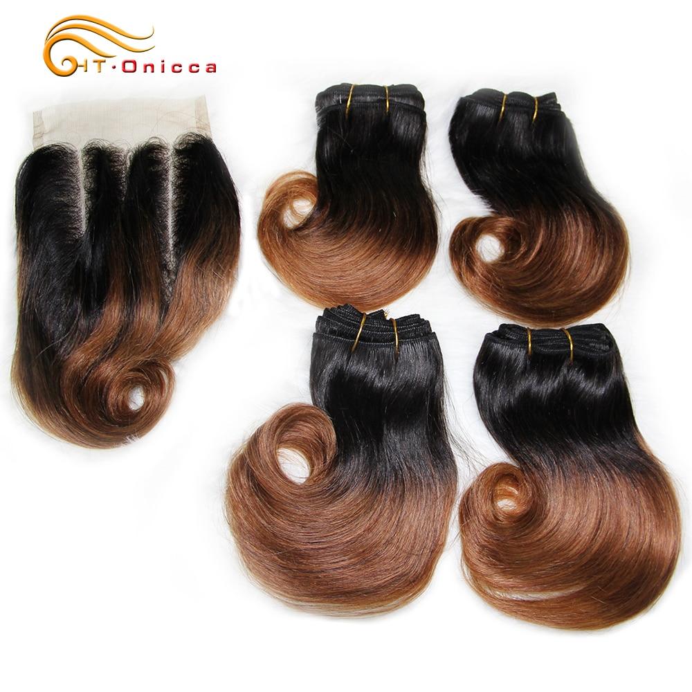 Short Curly Human Hair Weave Bundles Peruvian 8 inch Honey Blonde Bundles With Closure 1B 30 Burgundy Ombre Bundles With Closure