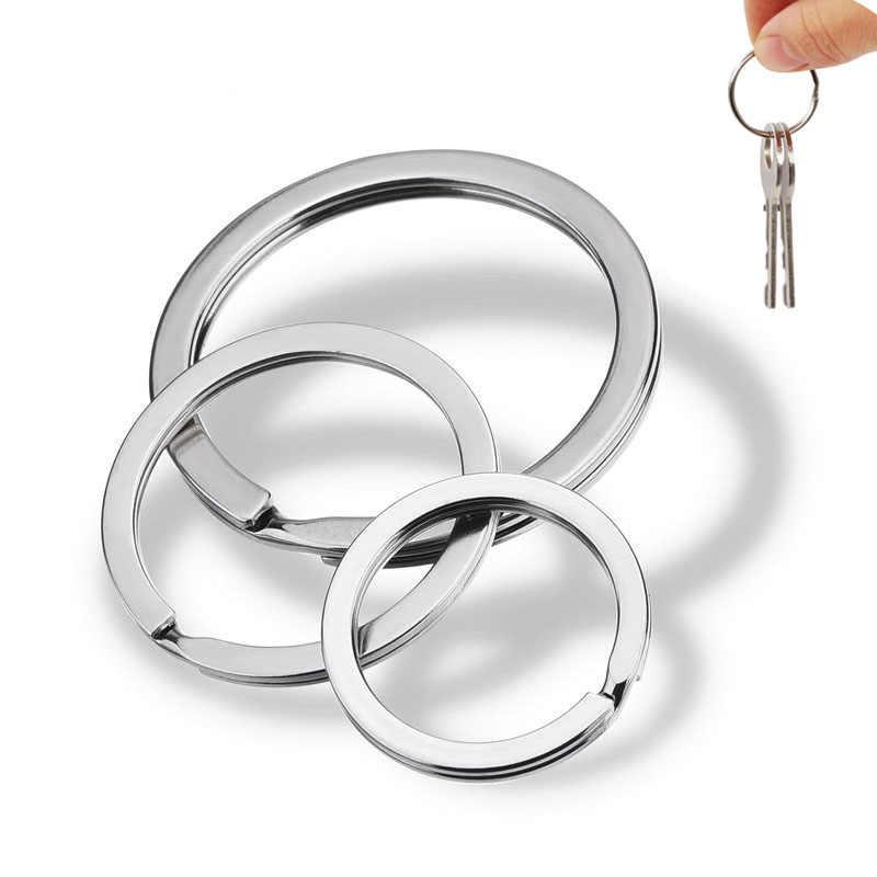 Louleur 20 ชิ้น/ล็อตสแตนเลส Key CHAIN แหวนแบนสายพวงกุญแจ Keyrings พวงกุญแจเครื่องประดับขายส่ง