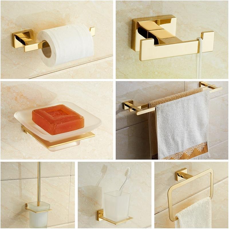 Golden Towel Rack Towel Bar Gold Stainless Steel Hardware Set,Robe Hook,Toilet Brush Cup Holder Soap dish Bathroom Accessories
