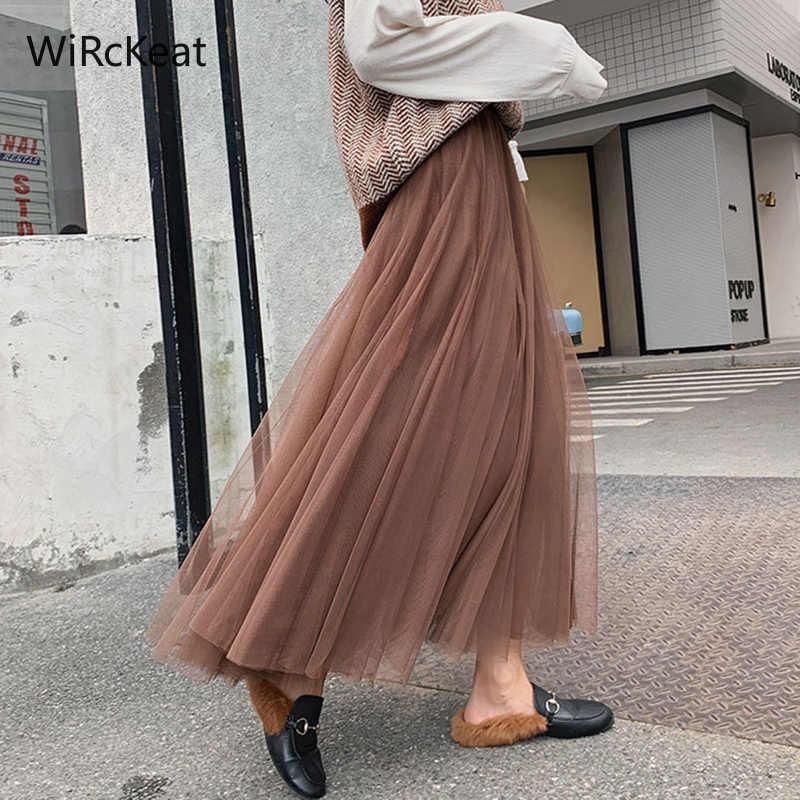 רשת נשים של טול חצאית נשים Midi שחור ארוך קפלים טול חצאיות לנשים גבוהה מותן חצאית נקבה טוטו חצאית אביב קיץ