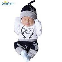 Lonsant bonito 3 pçs conjunto bebê recém-nascido roupas do menino da criança carta impressão bodysuit topos calças compridas chapéu outfits 0-18m n30