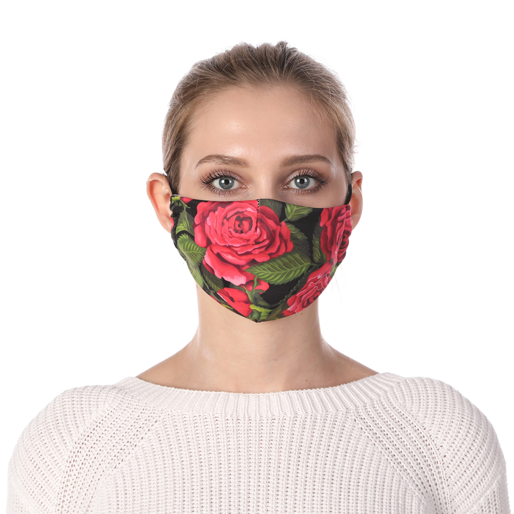 Zohra Rose Printing Face Mask Reusable Protective PM2.5 Filter Mouth Mask Anti Dust Mask Windproof Adjustable Face Masks