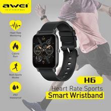 Ļh6 relógio inteligente 1.69 polegada fitness construir na análise de cuidados médicos pressão arterial esporte e sono dados carregamento magnético rápido