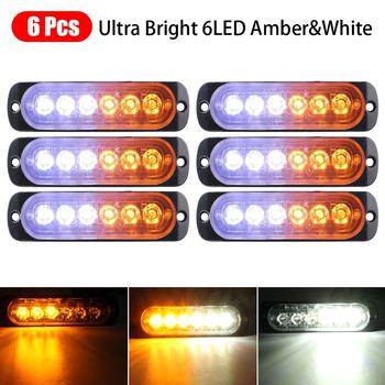 12/6Pcs Strobe 6 LED 12/24V Light  White  Amber Emergency Hazard Flashing Tow Truck Emergency Strobe Lights for Trucks цена 2017