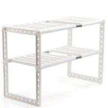 Houder Keuken Rvs Floor Soort Verstelbare Uitschuifbare Dubbellaags Gerechten Opbergrek Onder Gootsteen Multifunctionele Plank