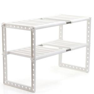 Image 1 - Tutucu mutfak paslanmaz çelik zemin tipi ayarlanabilir uzatılabilir çift katmanlı yemekleri depolama rafı altında çok fonksiyonlu raf