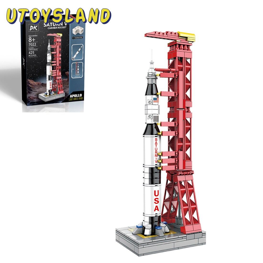 425 pièces Technic Apollo projet lunaire briques jouets Saturn V transporteur fusée briques modèle bricolage petite particule jouet pour enfants jouets