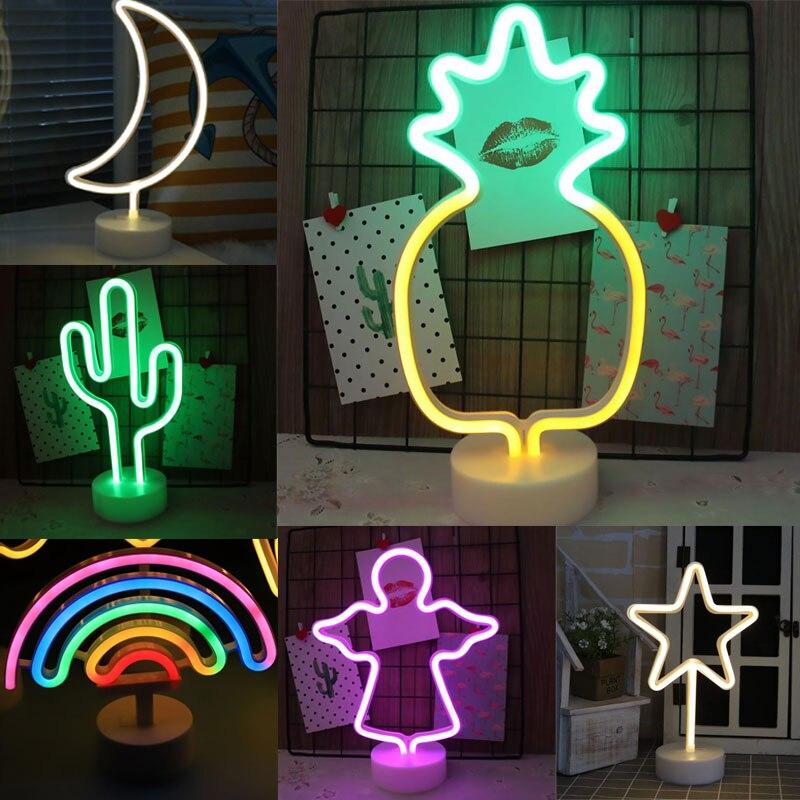 Tęczowy znak neonowy światło led wakacje Xmas dekoracja na przyjęcie ślubne pokój dziecięcy Home Decor Flamingo Moon jednorożec lampa neonowa