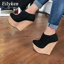 Eilyken Sexy Peep Toe Platform Wedge Pumps Shoes for Woman Nude Pumps Super High