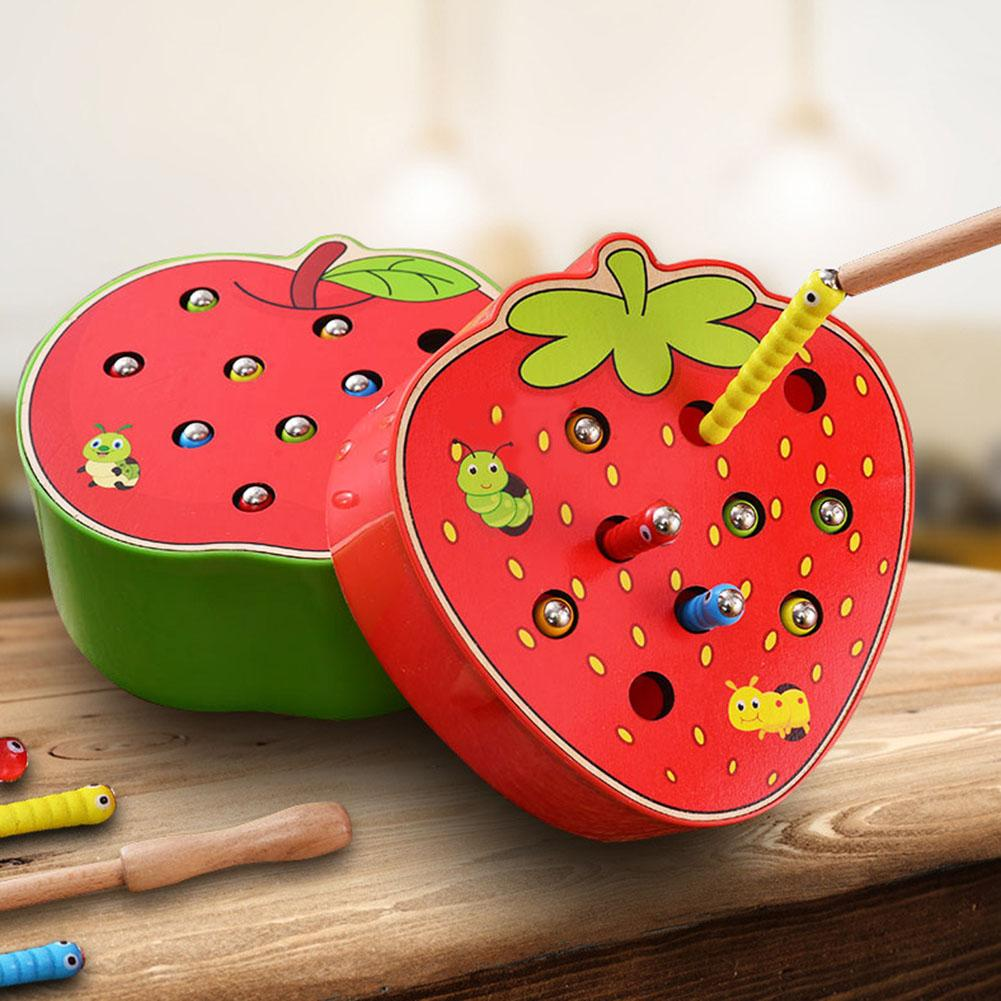 Funny Fruit Shape Wooden Magnetic Catch Worms Parents And Children Game Interactive Kids Gift Early Childhood Educational Toys