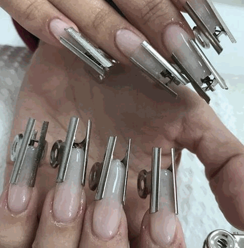 1Pcs Round Metal Clip Nail Tools 31mm Art Fiber Extension Stereotype Clip C Curve Nails Extension Tool