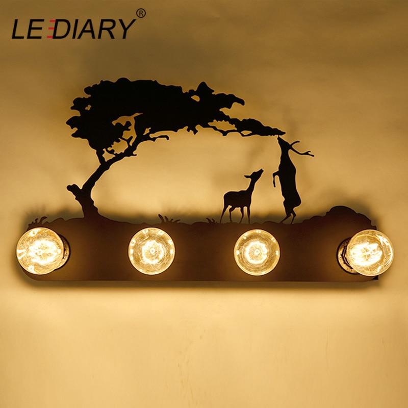 LEDIARY Animal Lâmpada de Parede Veados E27 Lâmpadas Ferro Substituível LEVOU Arandela Cavalo Alce Totoro Parede Pôr Do Sol Multi Estilo Moinho de Vento lâmpadas